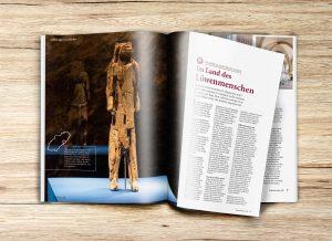 Aufgeschlagene Doppelseite mit redaktionellen Bericht über das Land des Löwenmenschen aus der Gästezeitung Schwaebische Alb