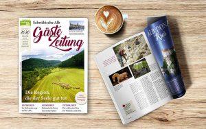 Titelseite und aufgeschlagenes Magazin Gästezeitung Schwäbische Alb