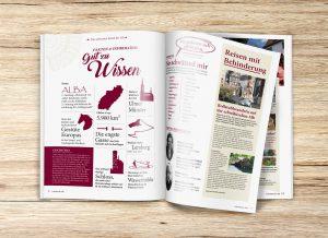 Aufgeschlagenen Doppelseite Gut zu Wissen auf aus dem Magazin Gaestezeitung Schwaebische Alb