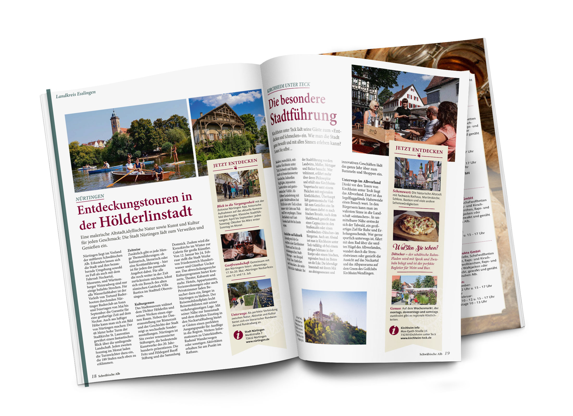 Aufgeschlagene Doppelseite mit einem redaktionellen Bericht über Nürtingen als Hölderlinstadt in der Gästezeitung Schwäbische Alb