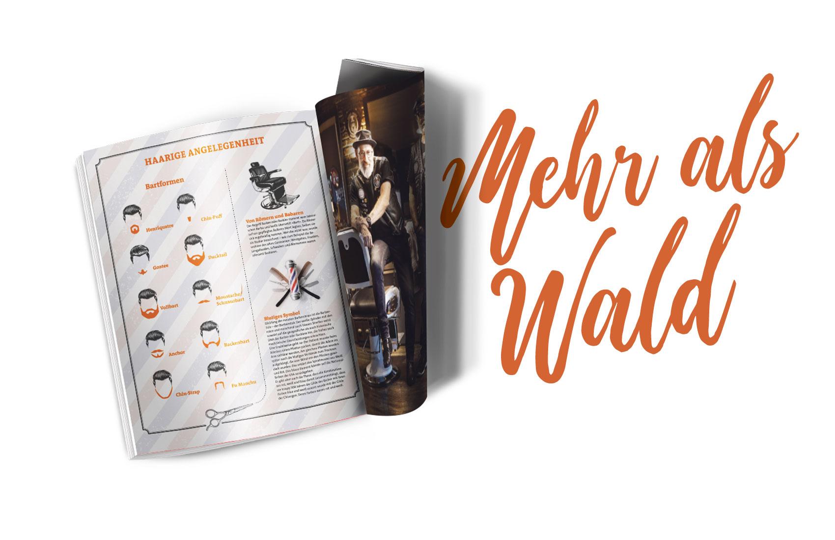 Seite des Magazins Waldrausch - Das Beste aus der Heimat mit Illustrationen zu verschiedenen Bartformen