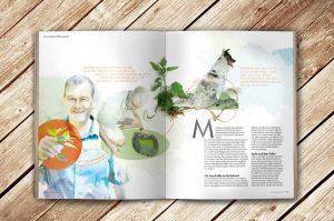 Aufgeschlagene Doppelseite des Magazin Waldrausch - Das Beste aus der Heimat mit einem Artikel zum Thema Brennesseln mit einer Illustration von Koch Michael Messmer aus der Linde Löffingen