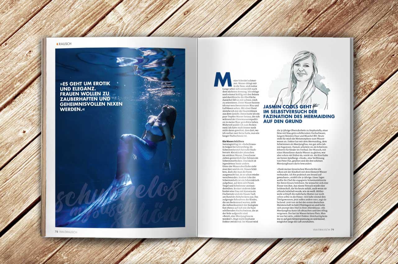 Aufgeschlagene Doppelseite des Magazins Waldrausch - Das Beste aus der Heimat mit einem Artikel zum Thema Mermaiding und einer Illustration