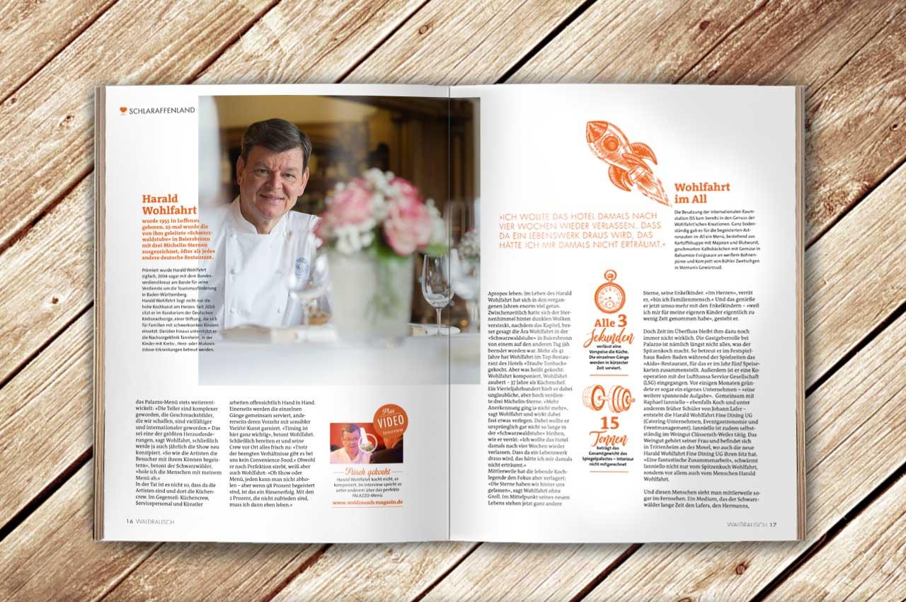 Aufgeschlagene Doppelseite des Magazins Waldrausch - Das Beste mit einem Artikel zu Harald Wohlfahrts Palazzo