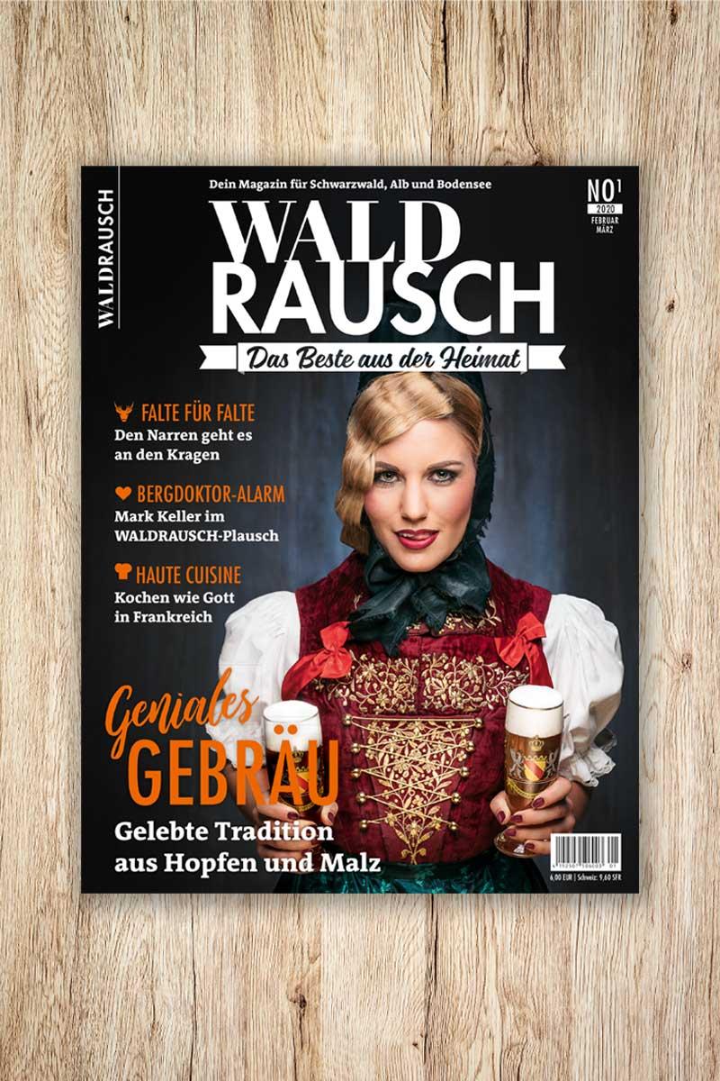 Titelseite des Magazins Waldrausch - Das Beste aus der Heimat mit den Themen Bierspecial, Bergdoktor und Faltenkragen bei Narren fotografiert von Sebstian Wehrle