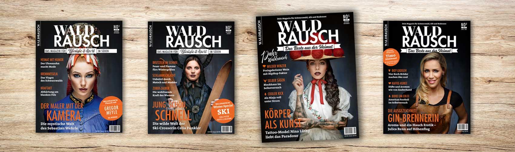 Mehrere Titelseiten des Magazins Waldrausch - Das Beste aus der Heimat
