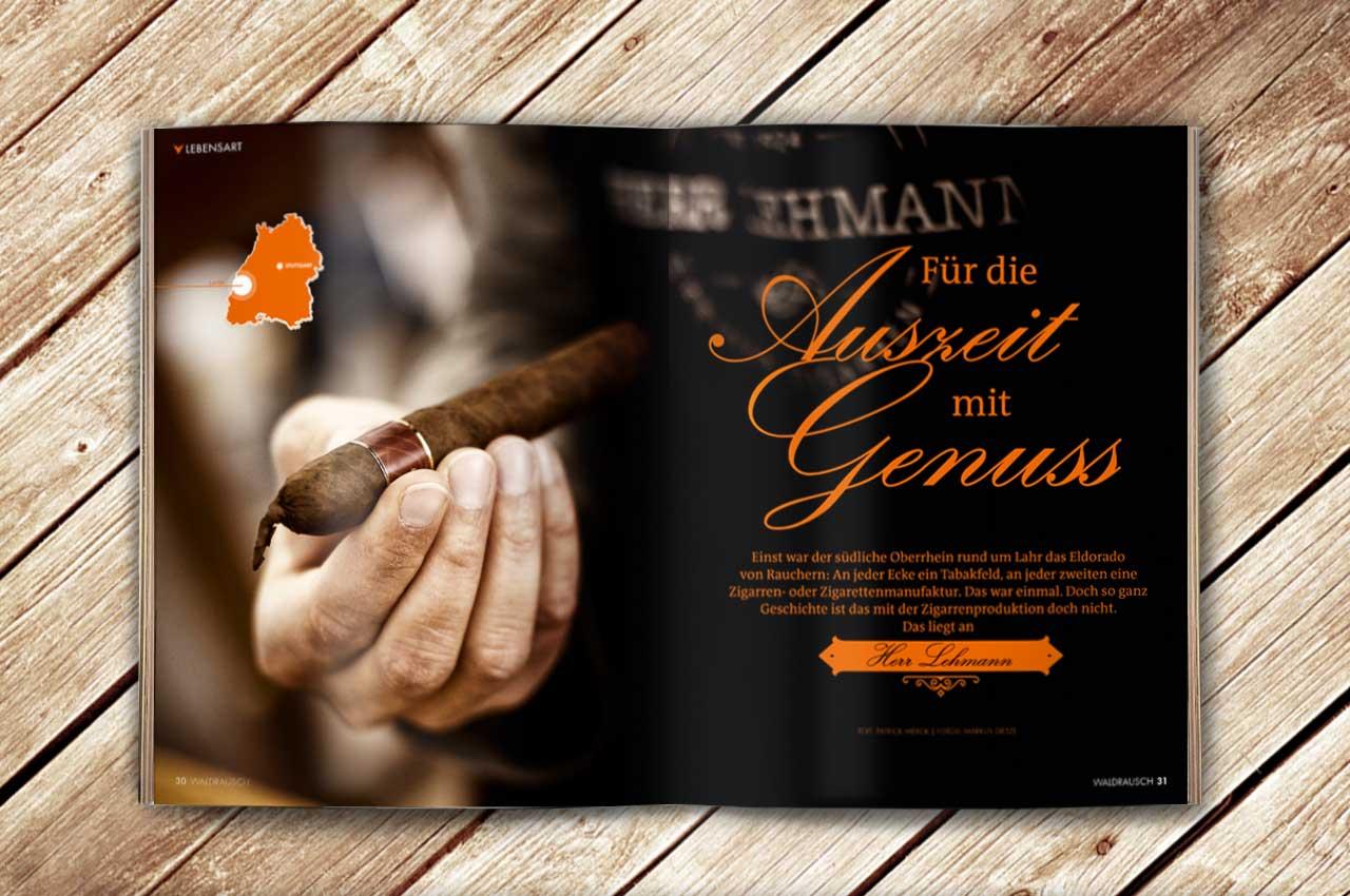 Aufgeschlagene Doppelseite des Magazins Waldrausch - Das Beste aus der Heimat, mit einem Artikel über Herrn Lehmann, eine Zigarrenmanufaktur aus Lahr