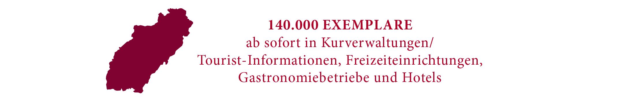 Silhouette Schwäbische Alb mit Text: 140.000 Exemplare ab sofort in Kurverwaltungen, Tourist-Informationen, Freizeiteinrichtungen, Gastronomiebetriebe und Hotels