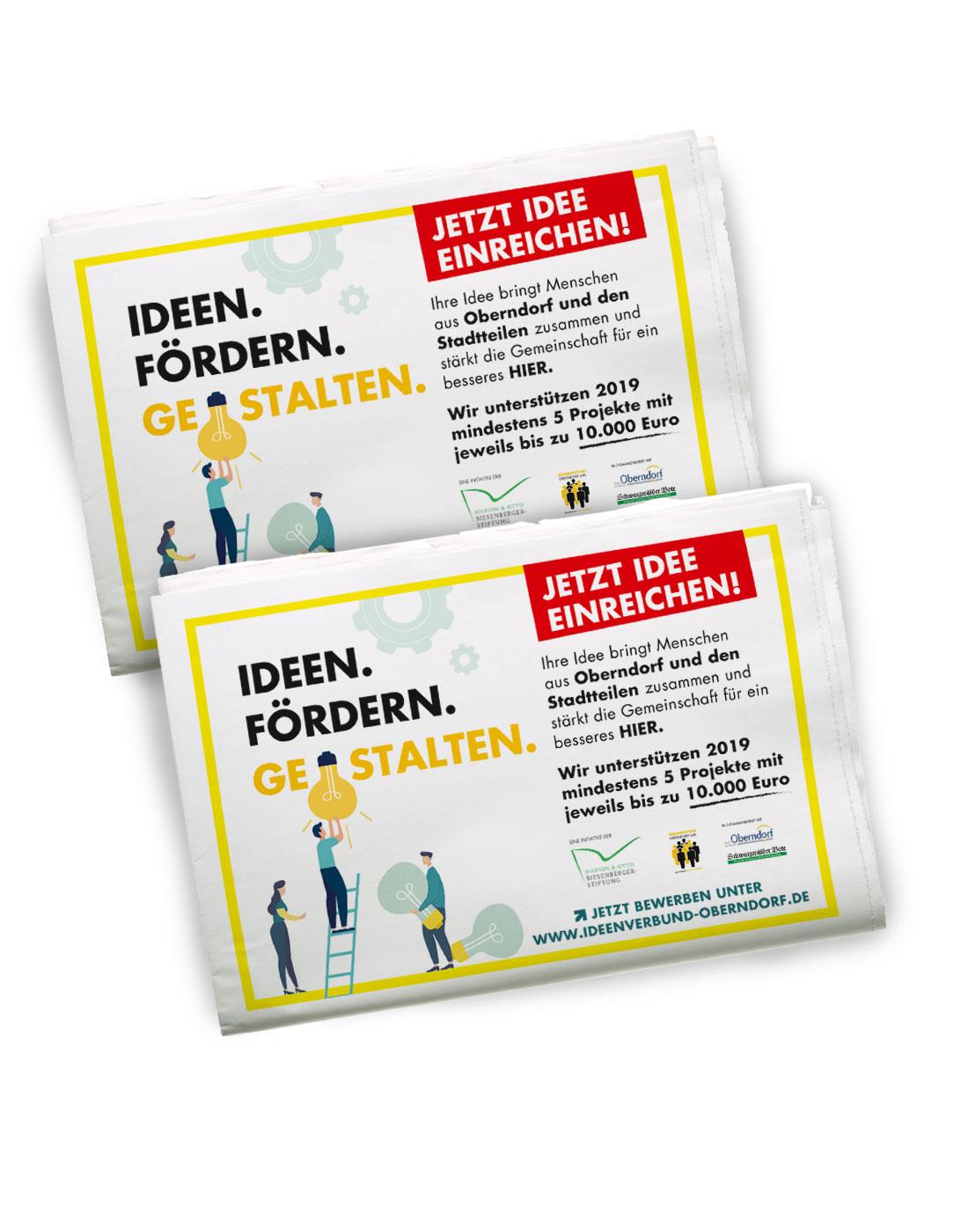 Abbildung einer Zeitung mit Zeitungsanzeigen für Kampagne Ideen. Fördern. Gestalten
