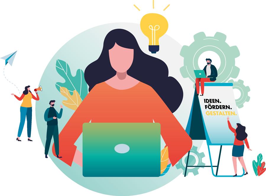 Illustration Kampagne Ideen. Fördern. Gestalten