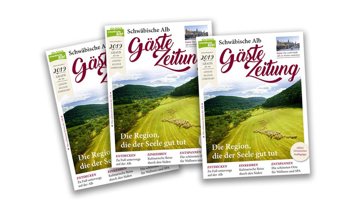 Titelseiten der Gästezeitung Schwäbische Alb