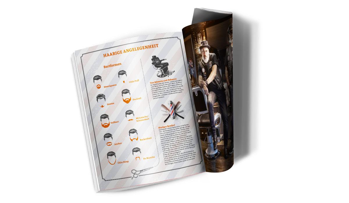 Innenseiten vom Magazin Waldrausch über einen trendigen Barbershop
