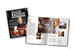 Titelseite und Innenseite des Magazin Waldrausch