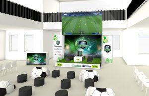 Entwurf der Messewand und Roll-Ups für die eSports Veranstaltung des Schwarzwälder Bote in der Pulverfabrik Rottweil, Bühnenbereich