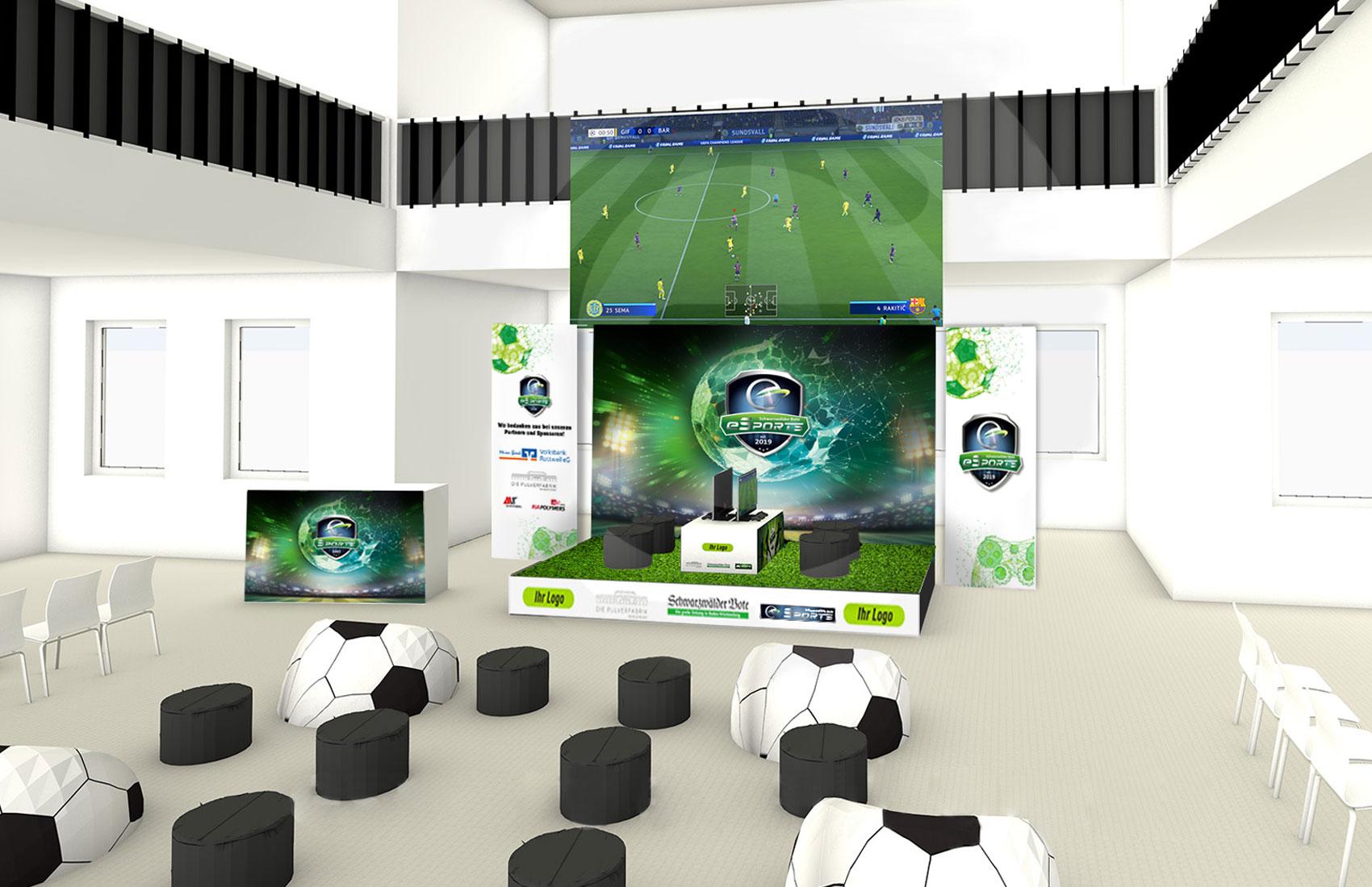 Entwurf Bühne mit Messewand und Roll-Ups für die eSports Veranstaltung des Schwarzwälder Bote in der Pulverfabrik Rottweil