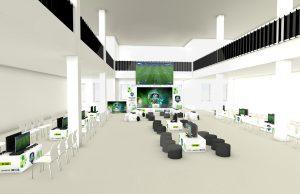 Entwurf der Messewand, Roll-Ups und Theken für die eSportsveranstaltung des Schwarzwälder Bote in der Pulverfabrik Rottweil in der Gesamtansicht