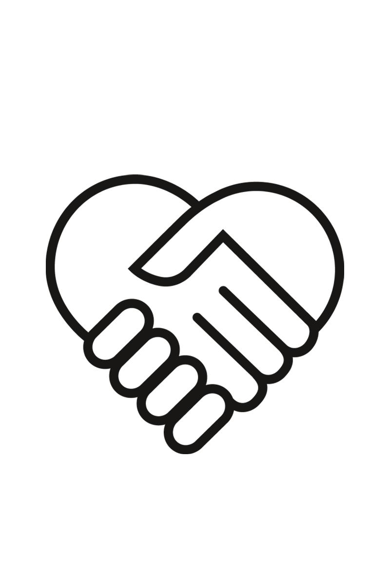 Illustration zwei Hände in Form von einem Herz