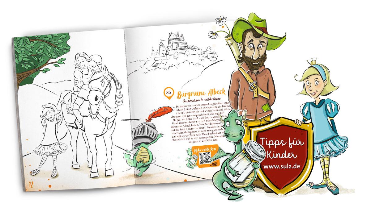 Malbuch mit Illustrationen von Salzdrache Streusel