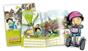 Broschüren mit illustrierten Kidnerfiguren Max und Lisa für den Spieletag Rottweil