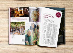 Aufgeschlagene Doppelseite zum Thema Kulinarik und Genussregion Schwäbische Alb der Gästezeitung Schwäbische Alb