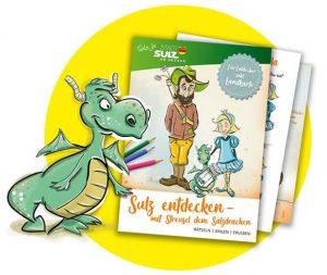 Titelseite Malbuch mit Streusel dem Salzdrachen