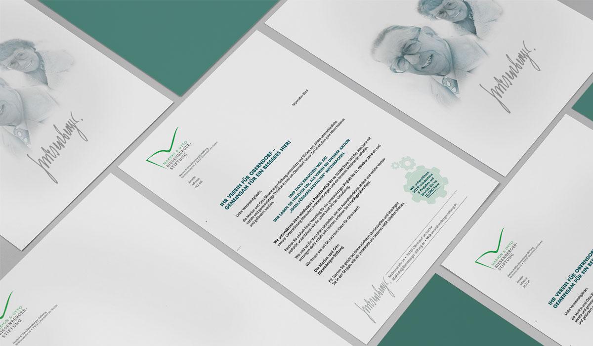 Corporate Design für die Marion und Otto Biesenberger-Stiftung