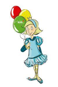 Illustration von Neckarella, Mädchen mit Luftballons