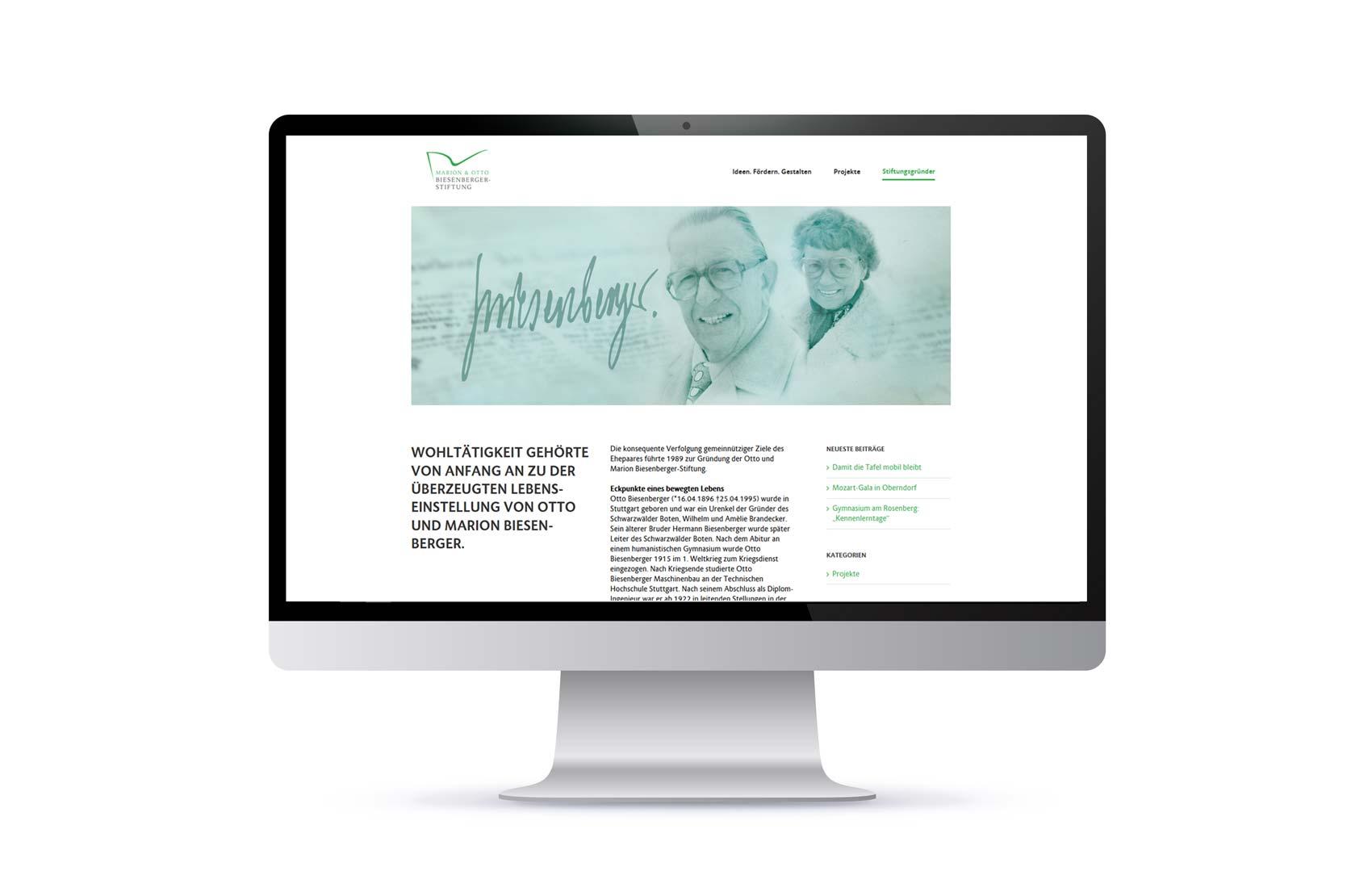Screendesign Gründer Marion und Otto Biesenberger-Stiftung