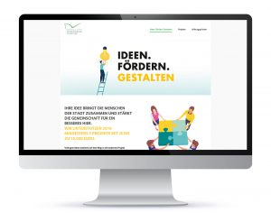 Screendesign für Kampagne Ideen. Fördern. Gestalten.