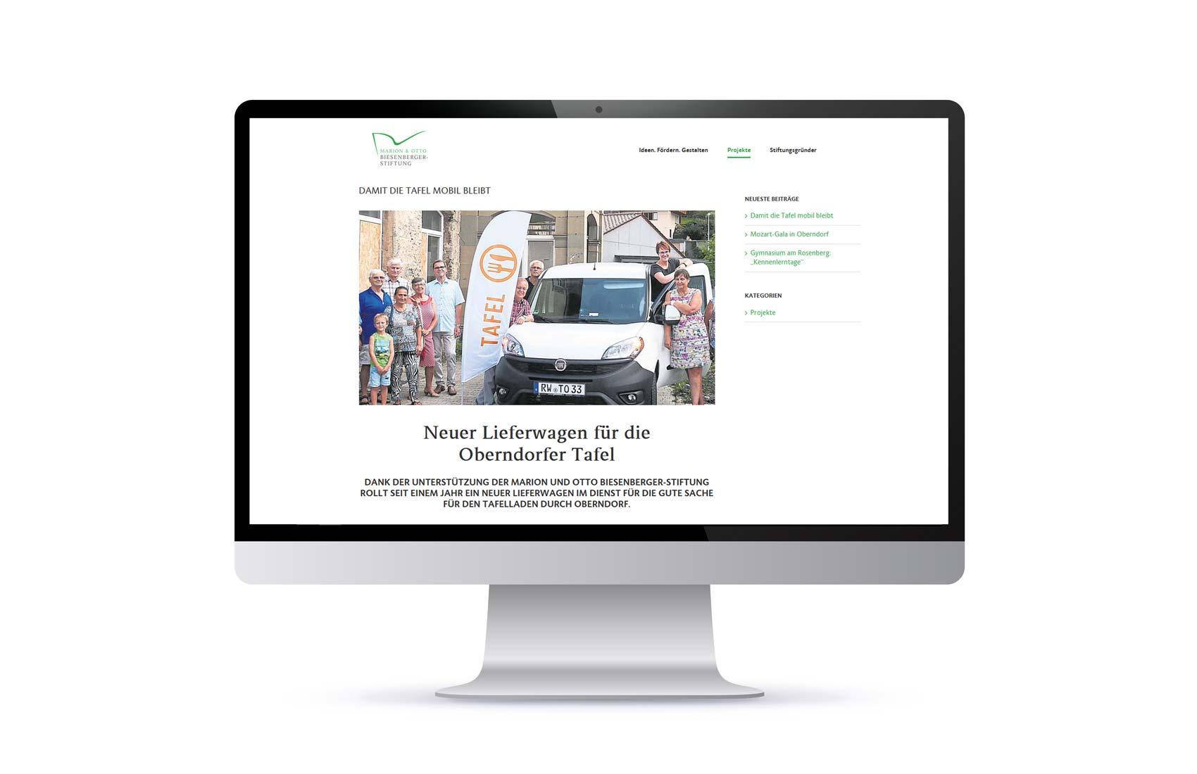 Screendesign Projektseite Marion und Otto Biesenberger-Stiftung
